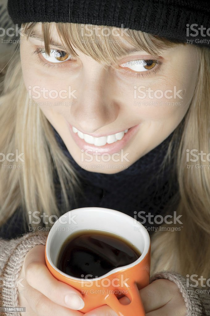young woman with cup royalty-free stock photo