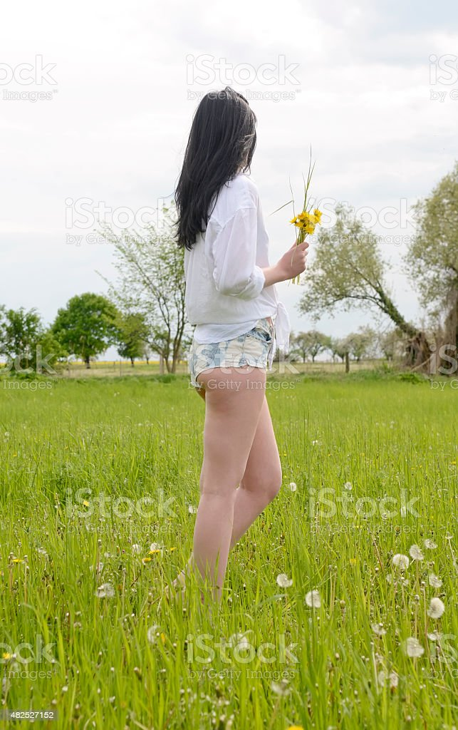 Young woman with dandelions on meadow stock photo