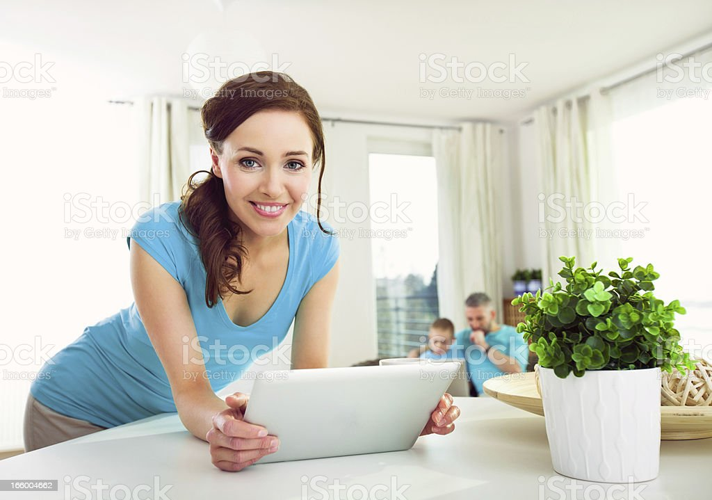 Young Woman with Digital Tablet at Home royalty-free stock photo