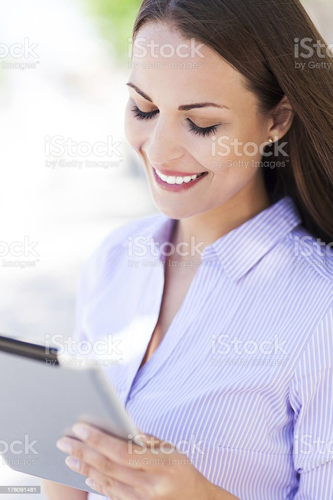 Young woman with digital tablet royalty-free stock photo