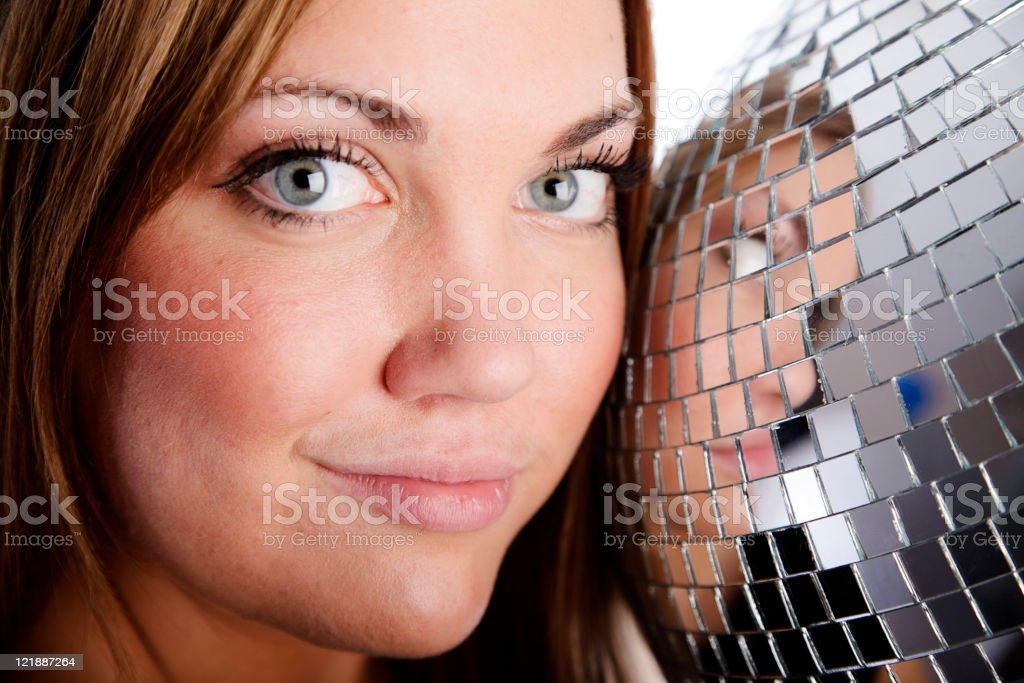 Young Woman with Disco Ball royalty-free stock photo