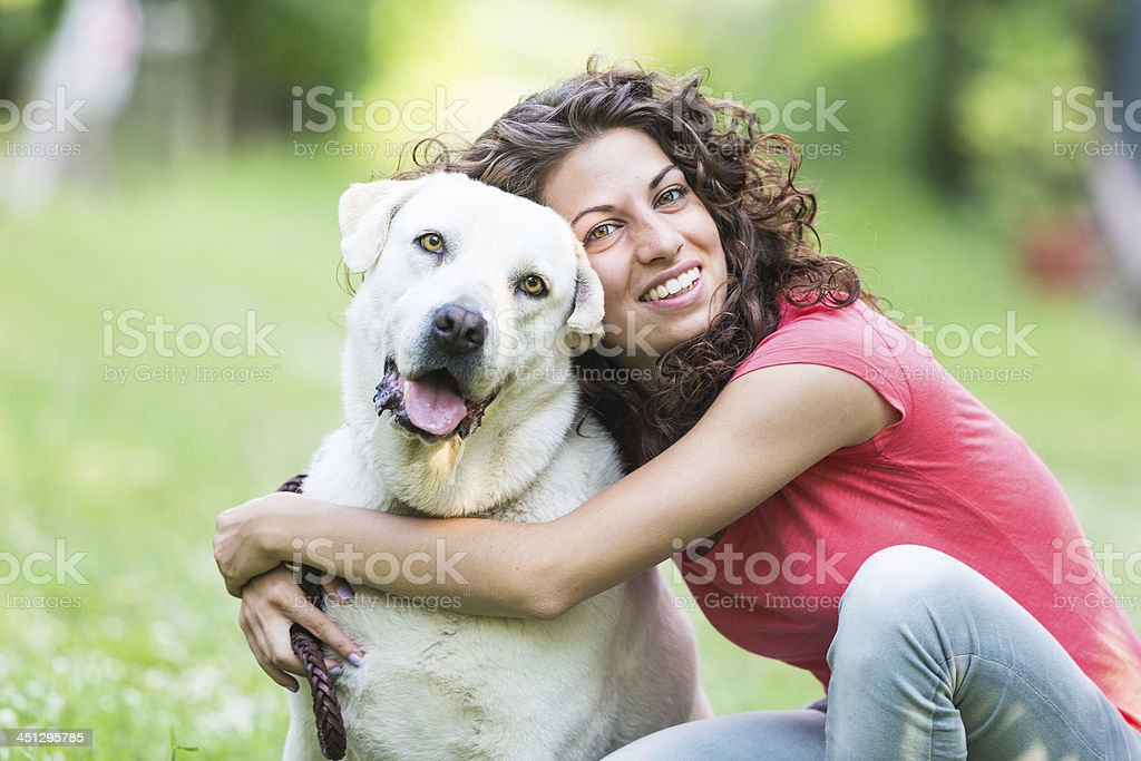 Young Woman with Dog stock photo