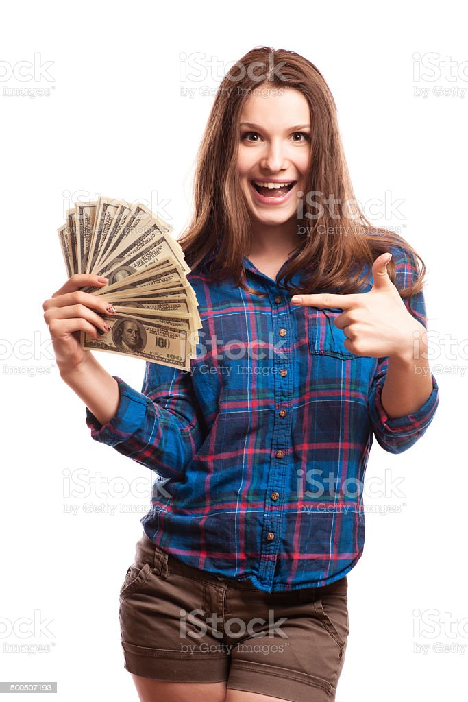 young woman with dollars in her hands stock photo