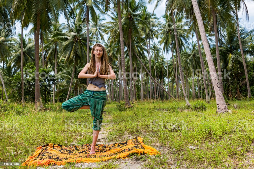 Young woman with dreads does yoga stock photo
