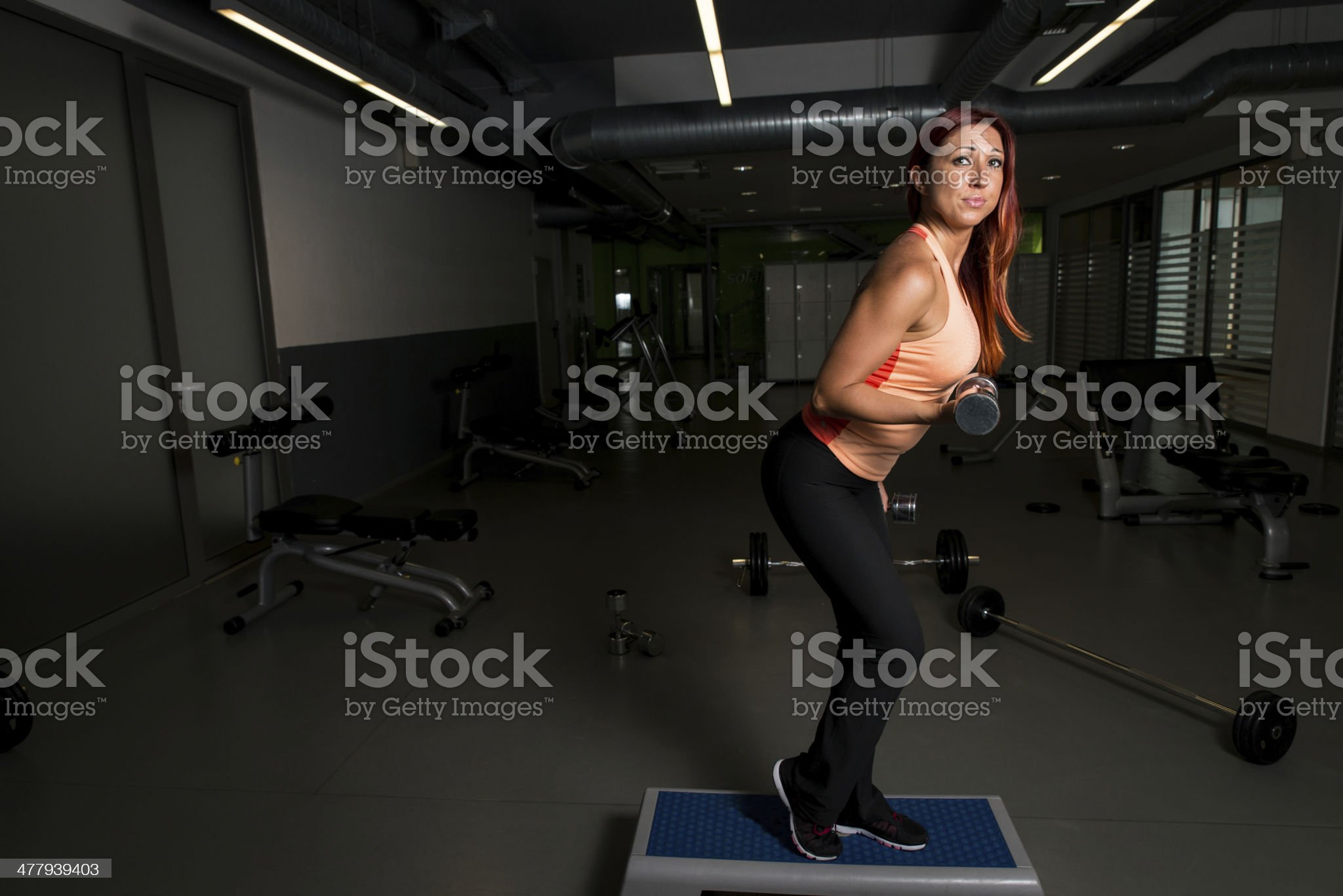 Young Woman with Dumbbells royalty-free stock photo