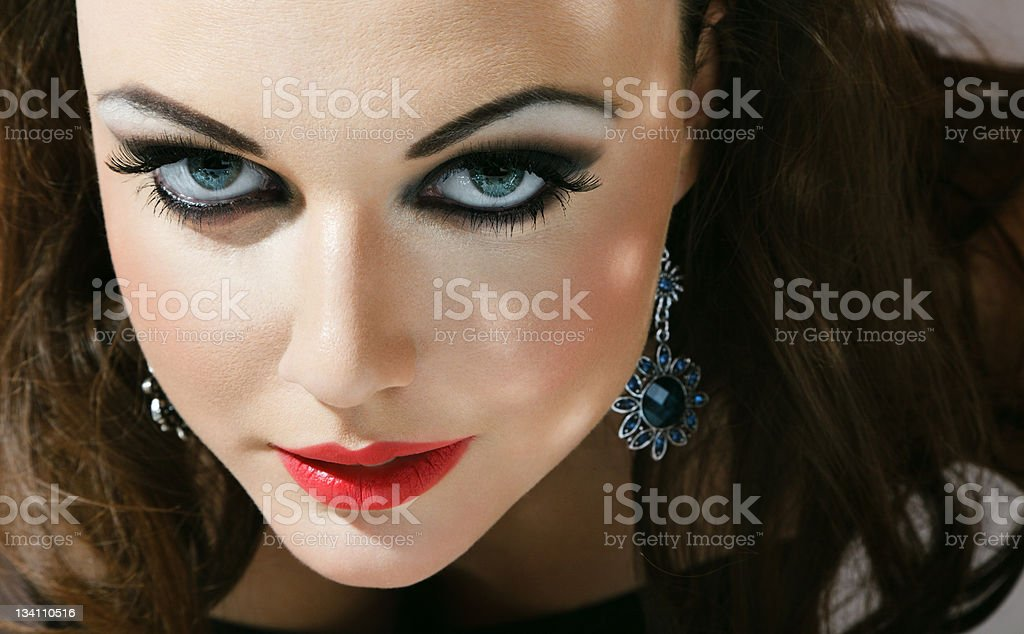 Young woman with fashionable makeup royalty-free stock photo