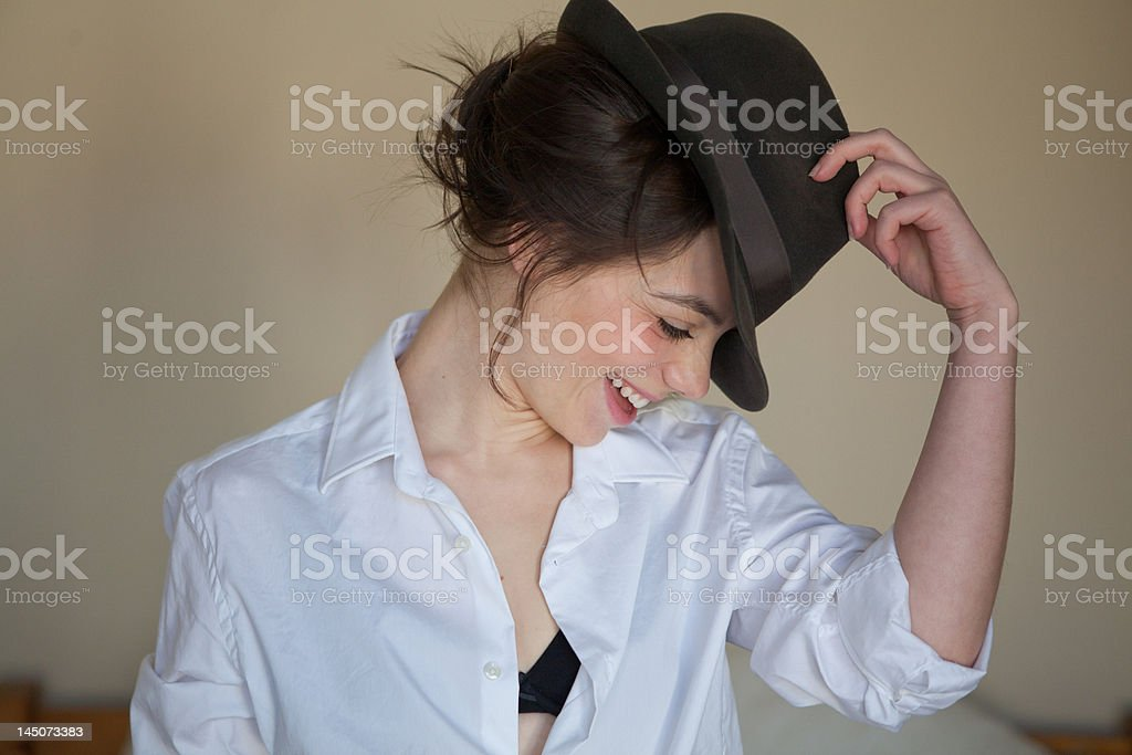 Young woman with fedora stock photo