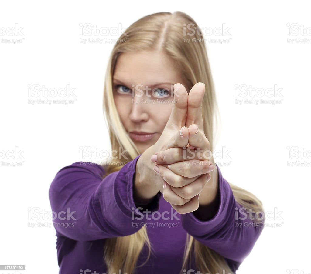 Young Woman With Finger Gun royalty-free stock photo