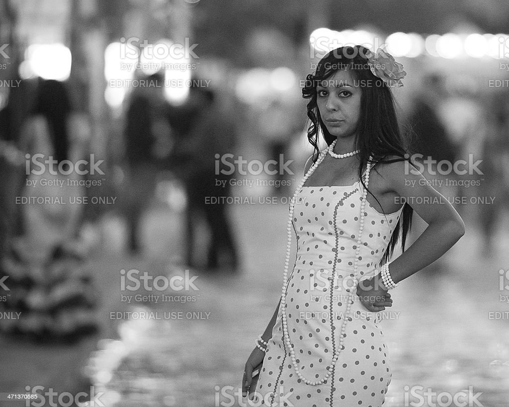 young woman with flamenco dress royalty-free stock photo