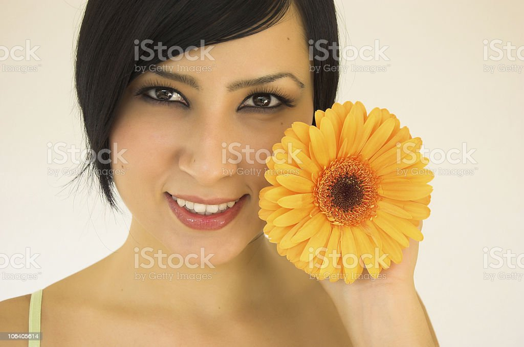 young woman with flower royalty-free stock photo