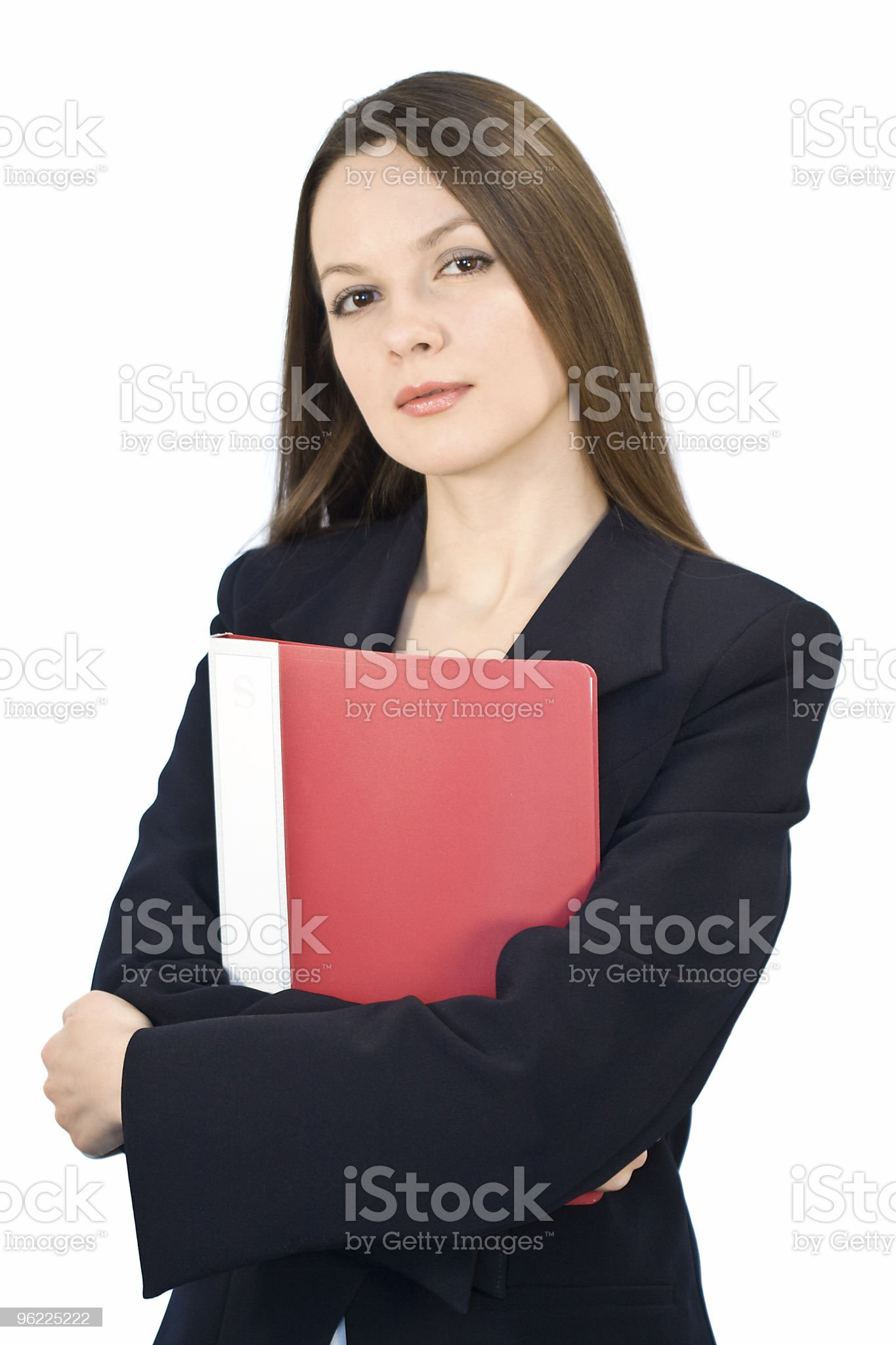 Young woman with folder in hands royalty-free stock photo