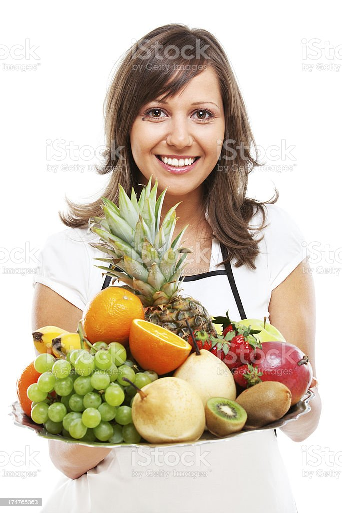 Young woman with fruits royalty-free stock photo