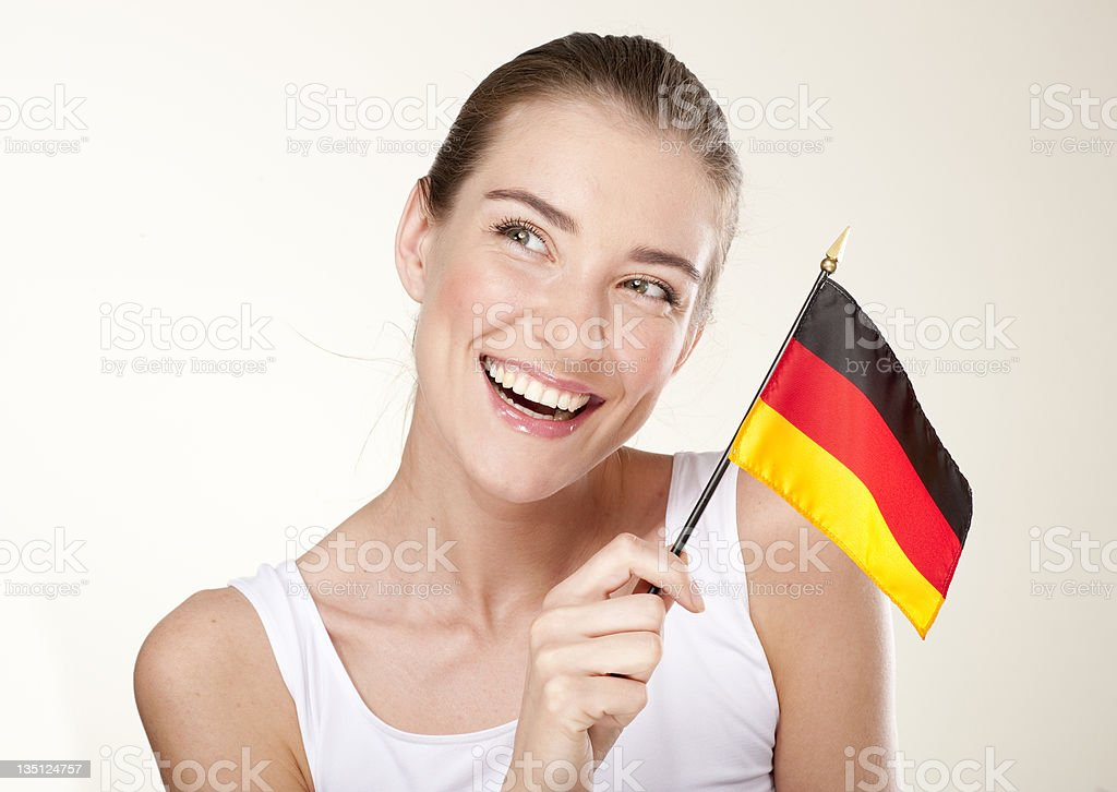 Young woman with Germany  flag royalty-free stock photo