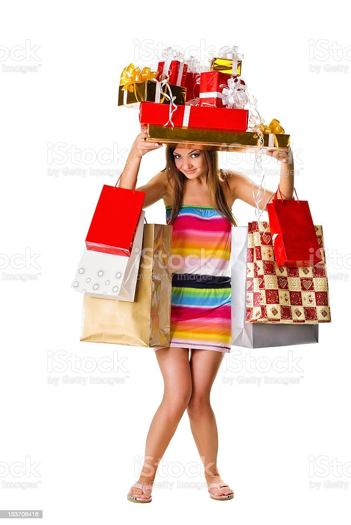 young woman with gift boxes royalty-free stock photo
