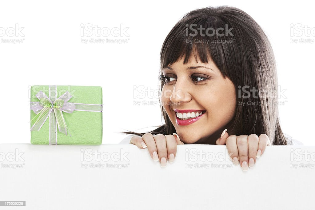 Young woman with gift stock photo