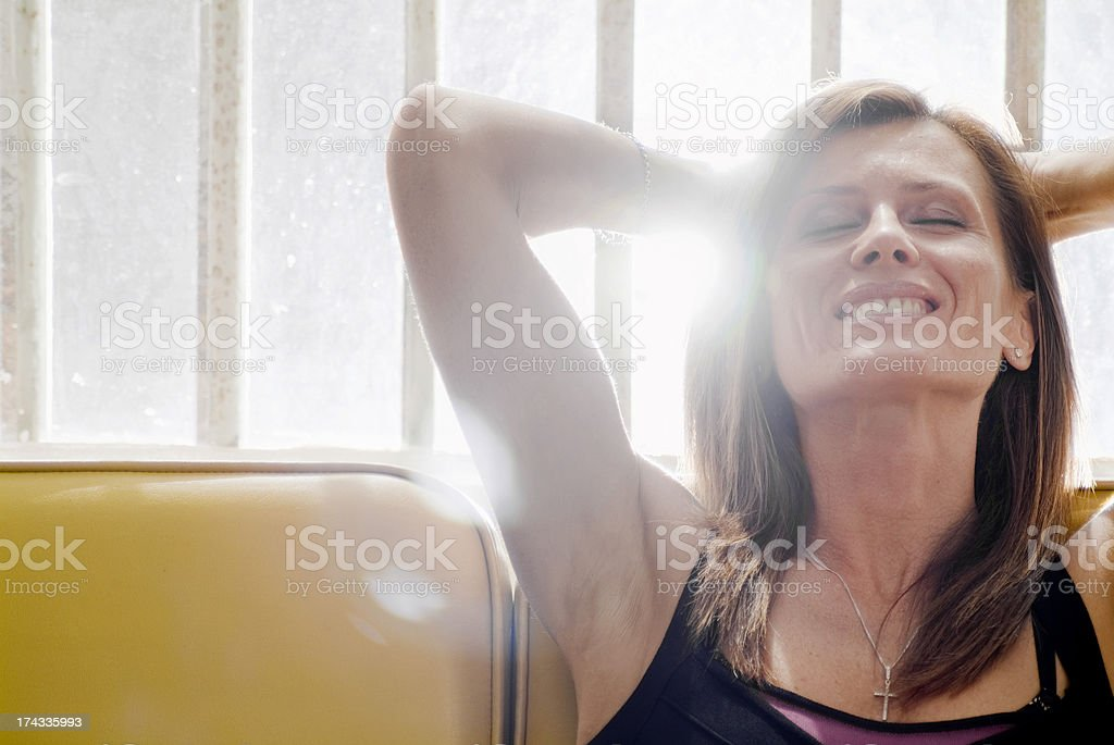 Young woman with gift series. stock photo