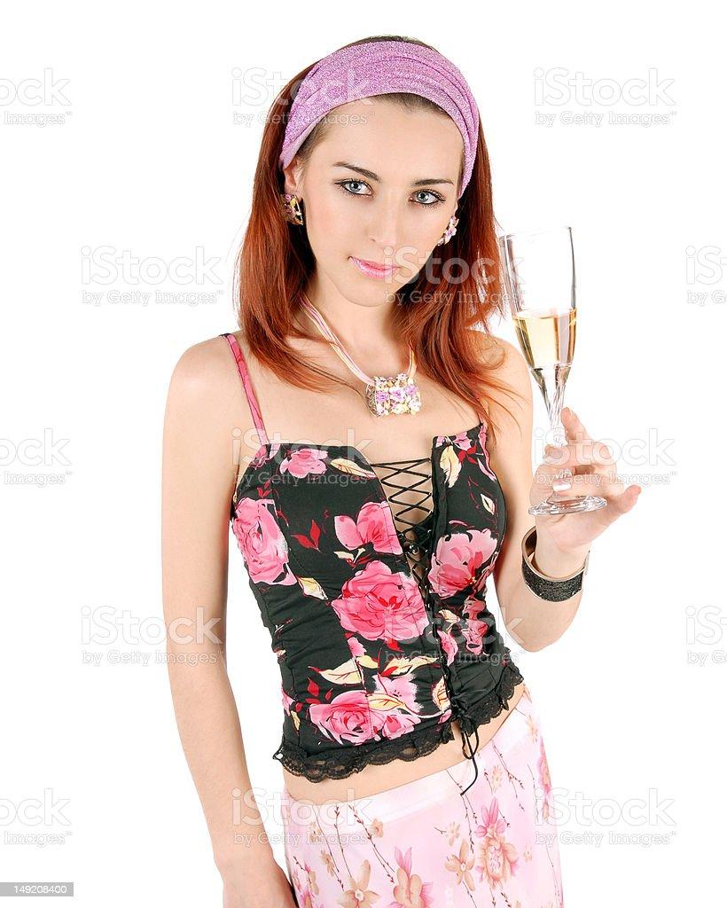 Jovem mulher com Copo de Vinho foto de stock royalty-free