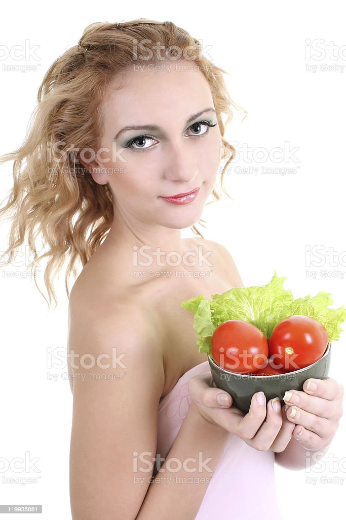 young woman with green salad an tomatoes royalty-free stock photo