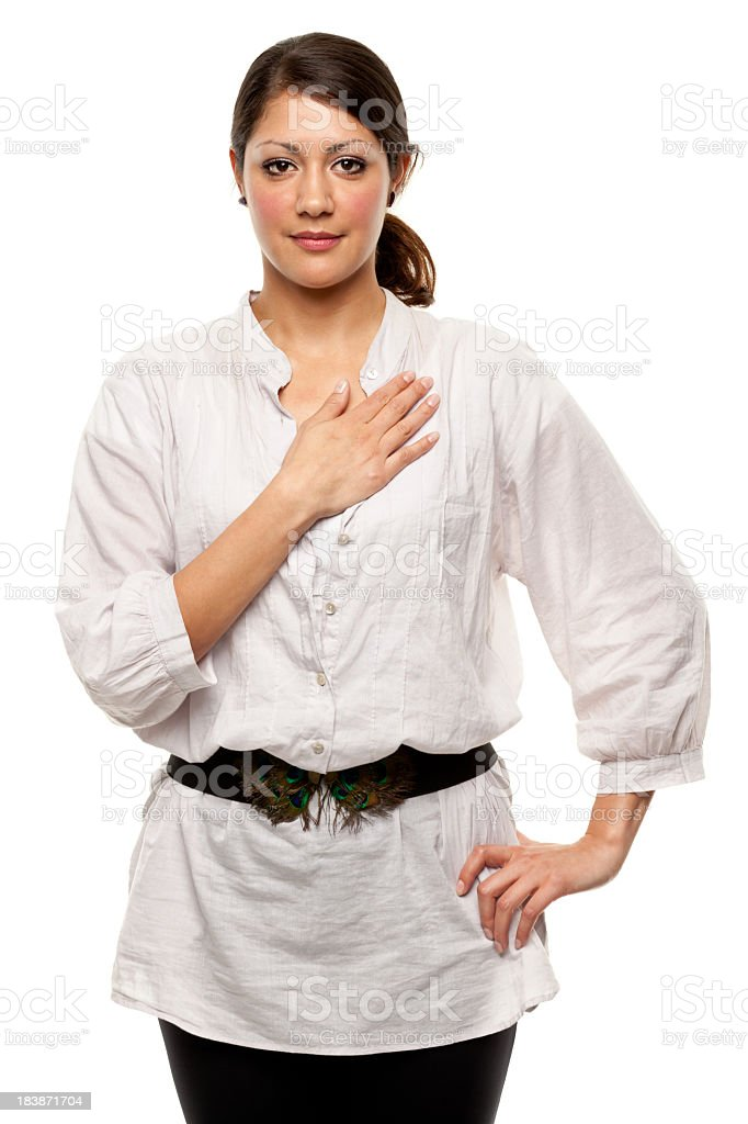 Young Woman With Hand Over Heart stock photo