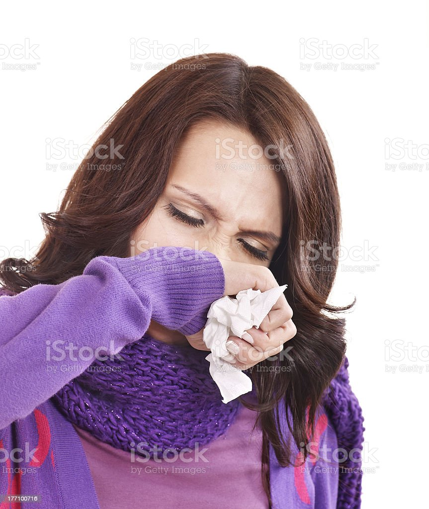 Young woman with handkerchief having cold royalty-free stock photo