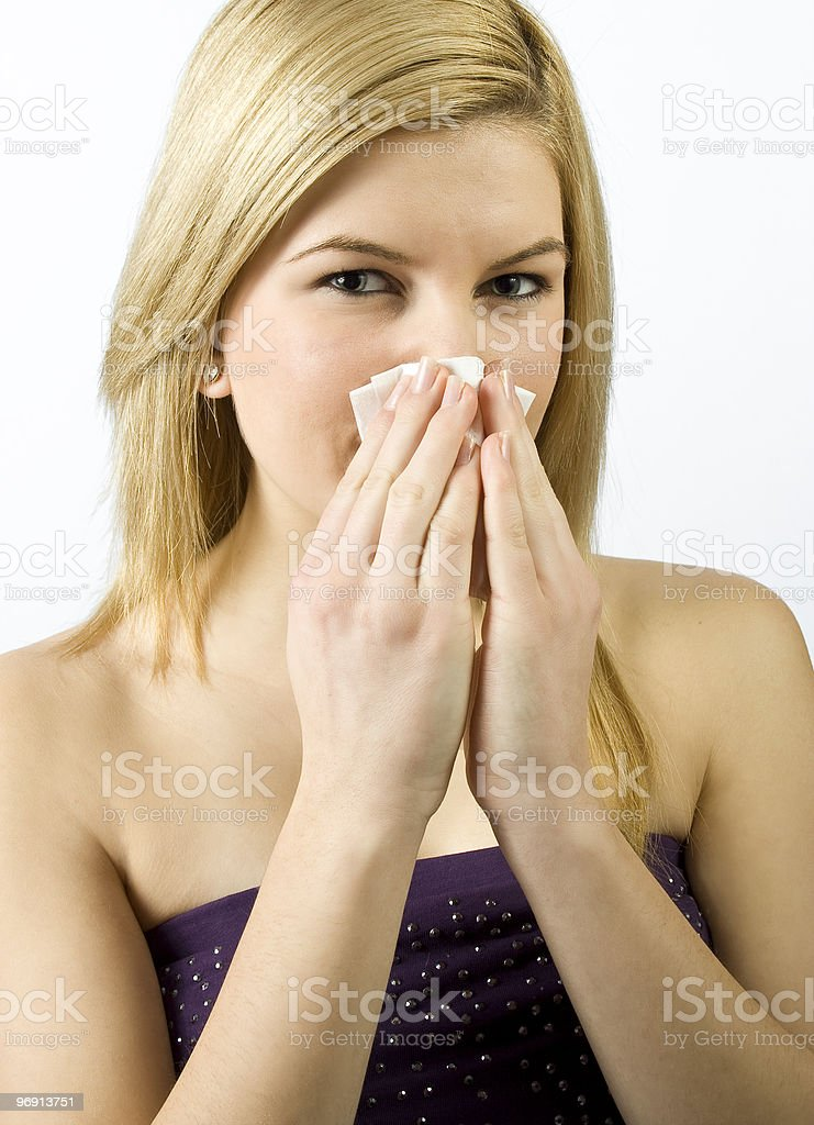 young woman with handkerchief stock photo