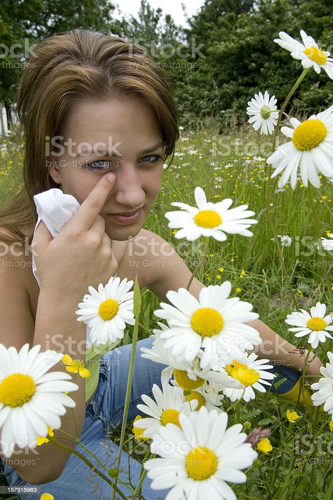 young woman with hay fever royalty-free stock photo