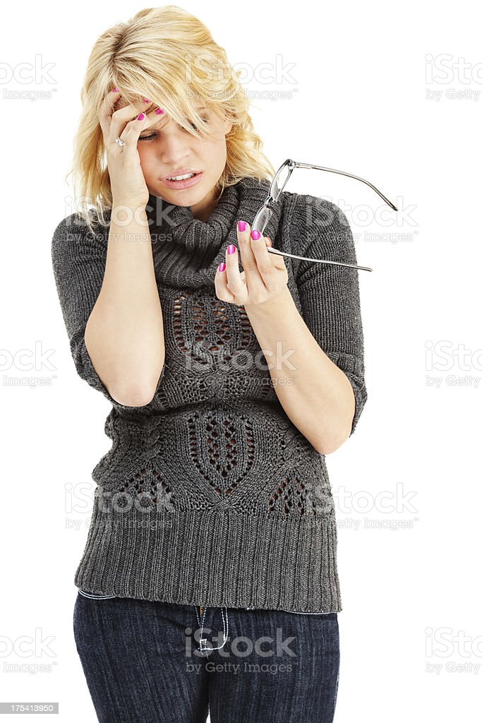 Young Woman with Headache from Glasses royalty-free stock photo