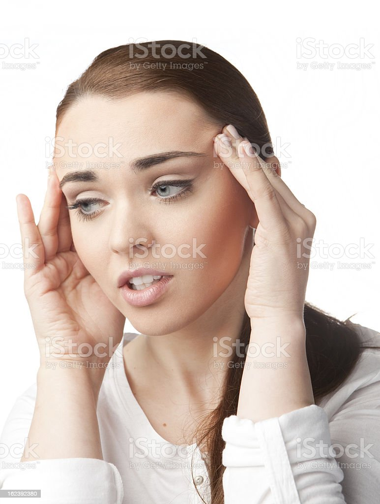 Young woman with headache on white background royalty-free stock photo