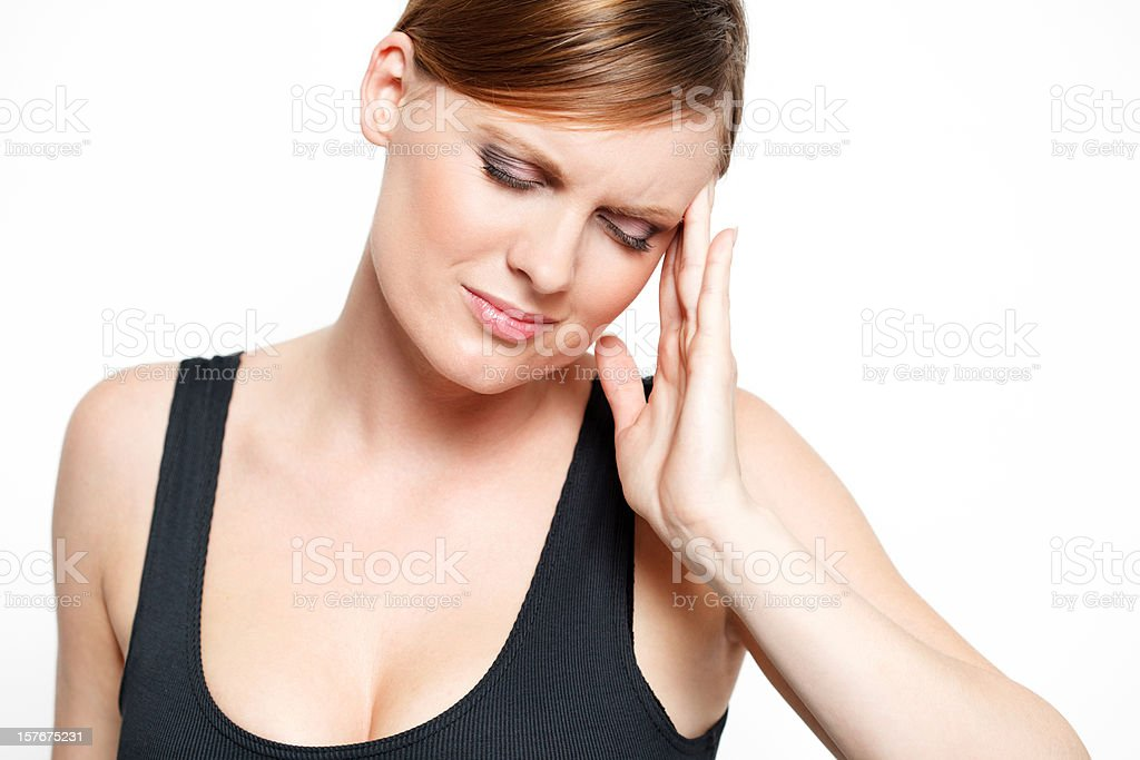 Young woman with headache pain stock photo