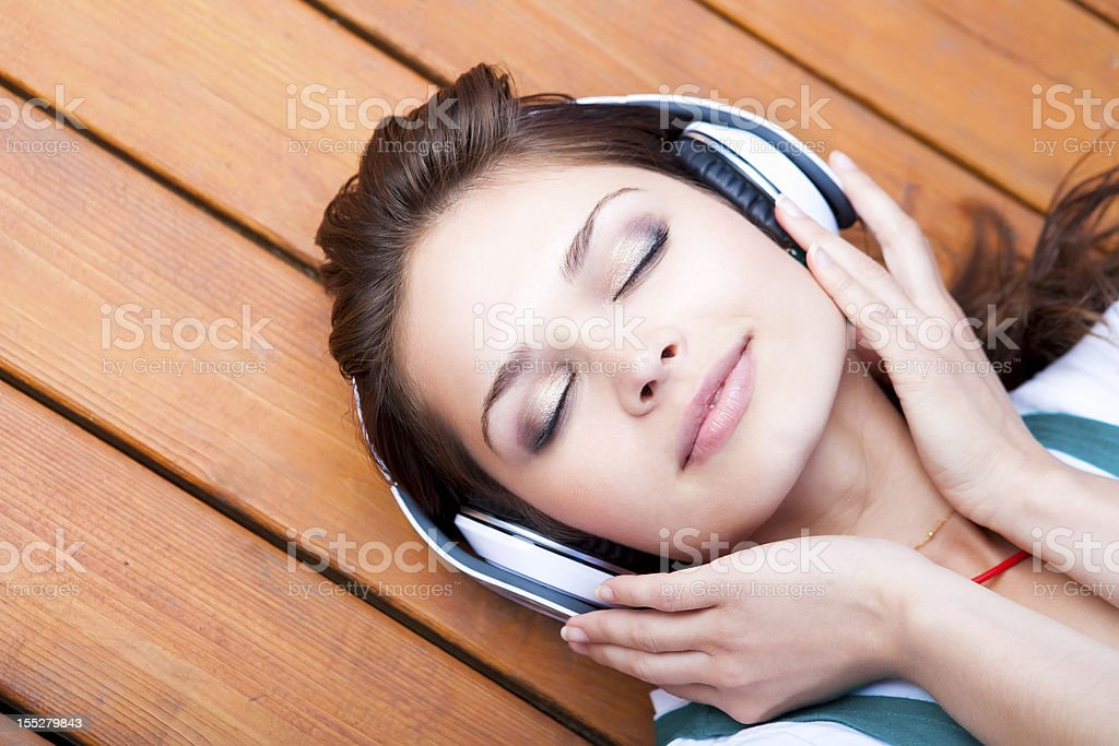 Young woman with headphone royalty-free stock photo