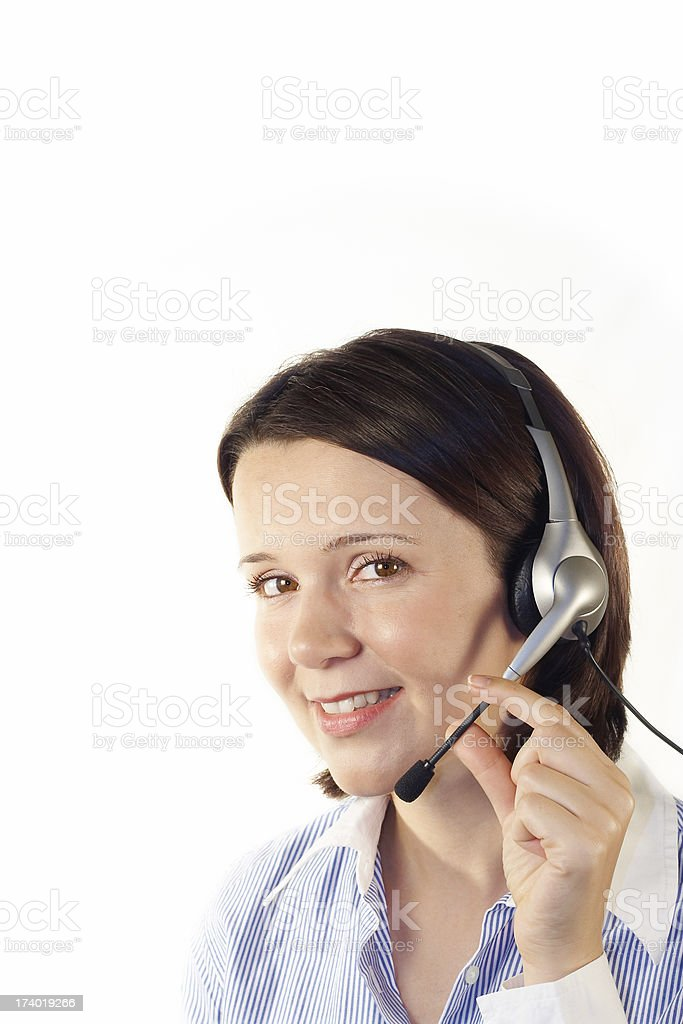 Young woman with headset, customer service. royalty-free stock photo
