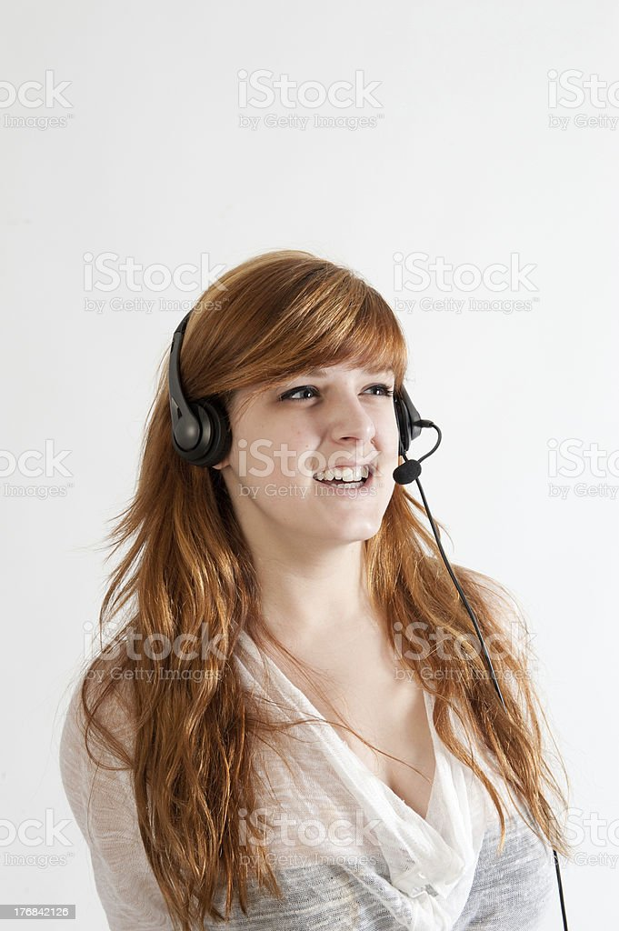 Young woman with headset stock photo