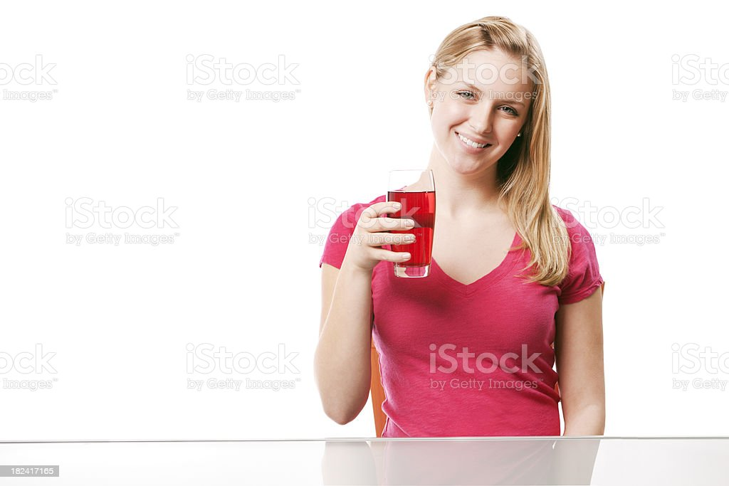 Young Woman with Healthy Cranberry Juice Hz stock photo
