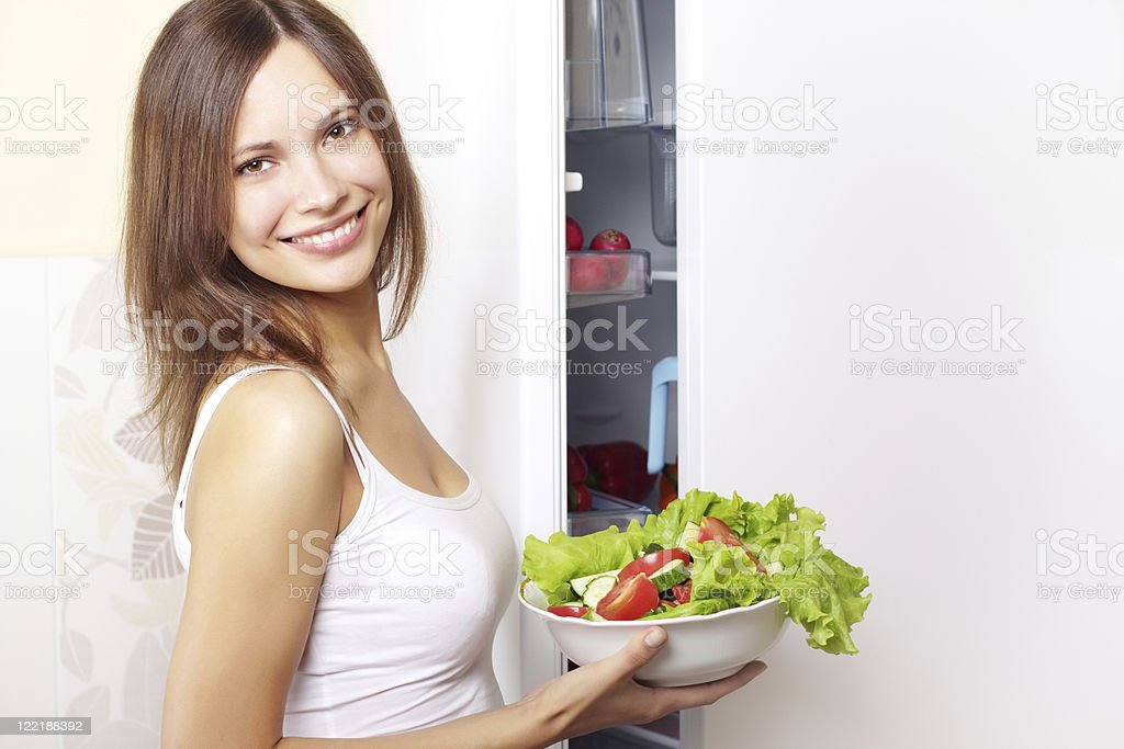 Young woman with healthy salad royalty-free stock photo