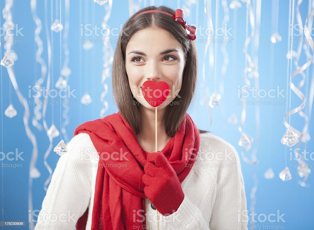 Young woman with heart. royalty-free stock photo