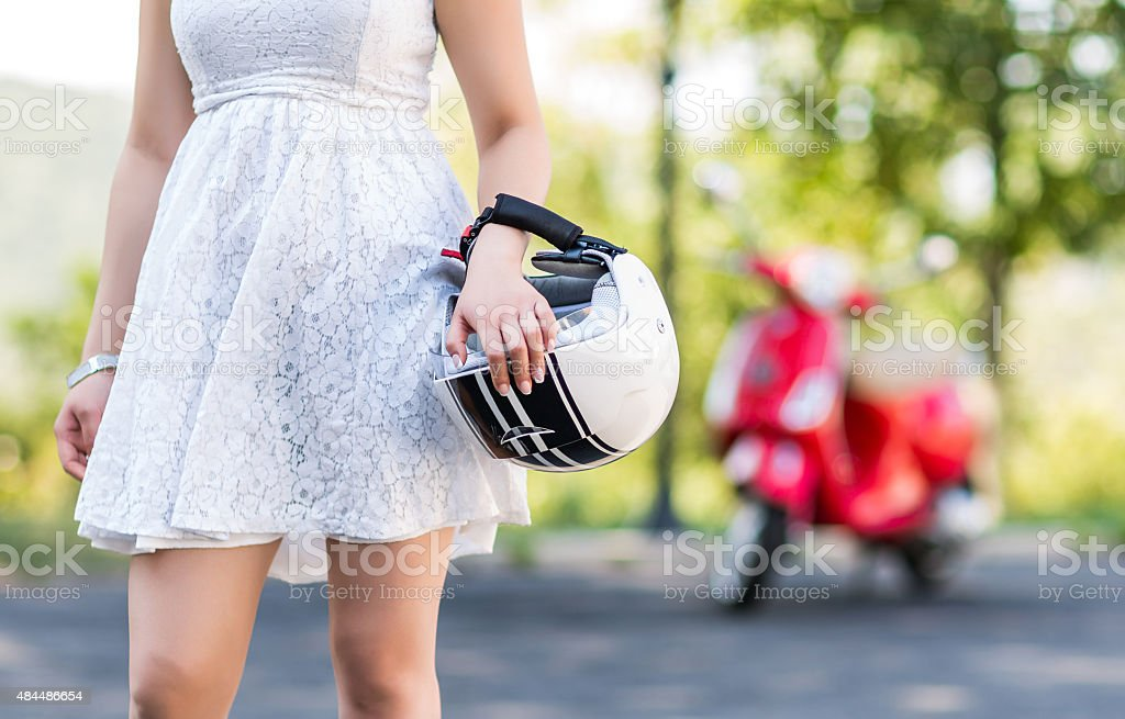 Young woman with helmet stock photo