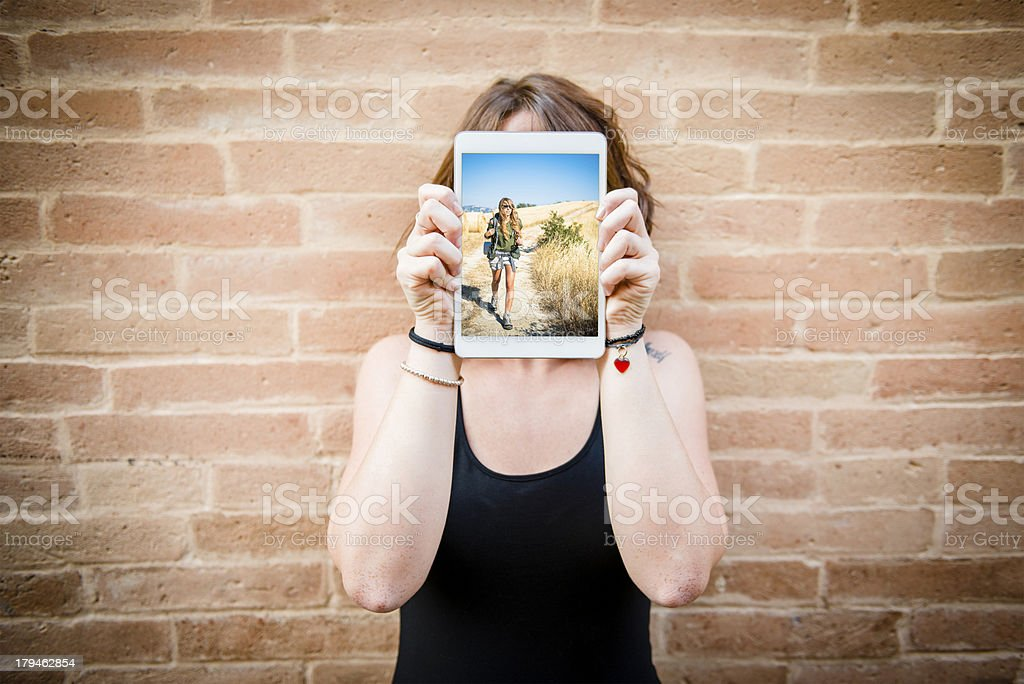 Young woman with her digital tablet royalty-free stock photo
