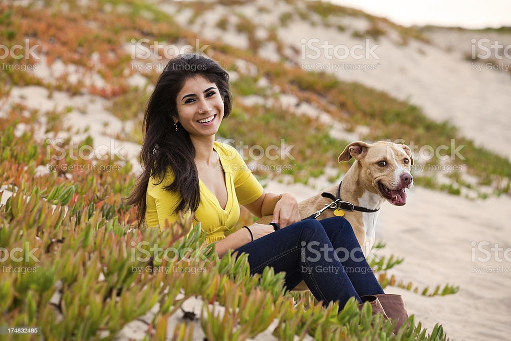 Young woman with her dog royalty-free stock photo