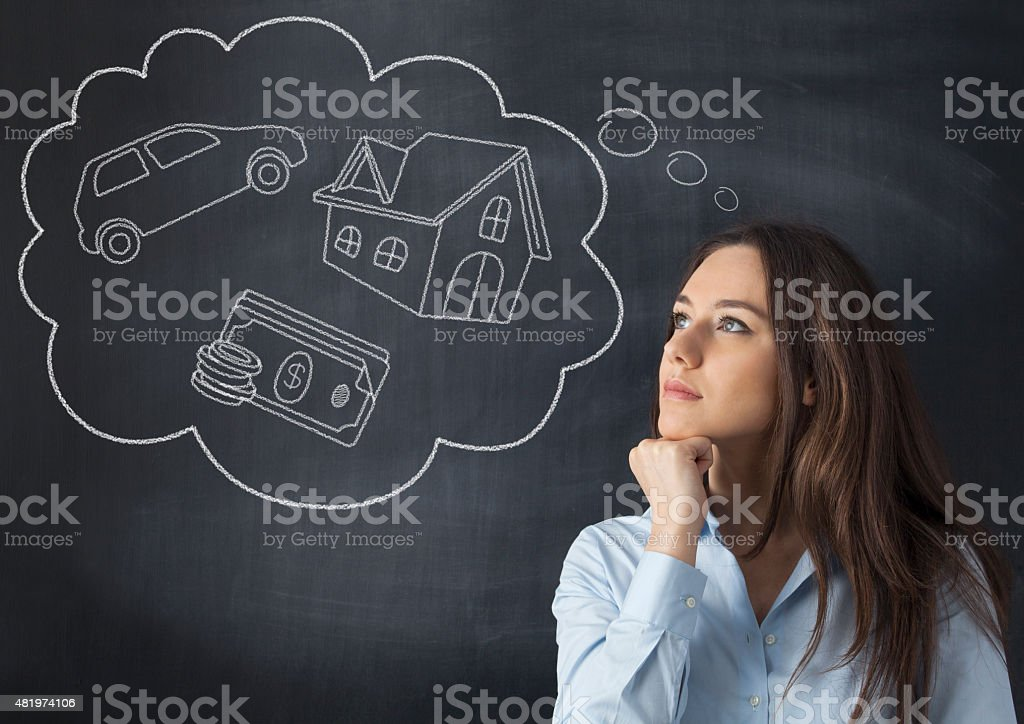 Young woman with her dreams stock photo