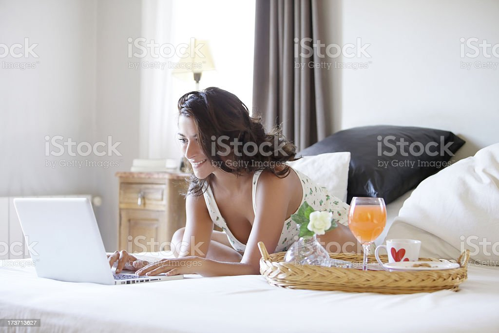 Young woman with her laptop royalty-free stock photo