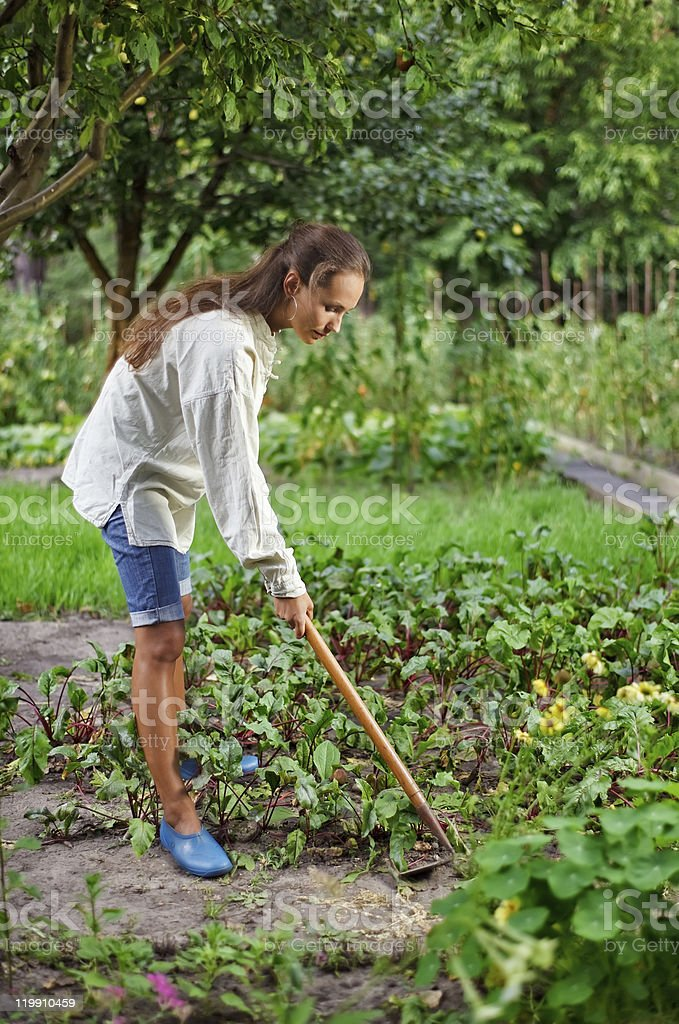 Young woman with hoe working in the garden bed royalty-free stock photo