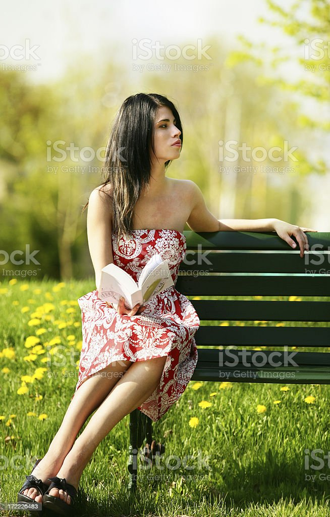 Young woman with  in a park royalty-free stock photo