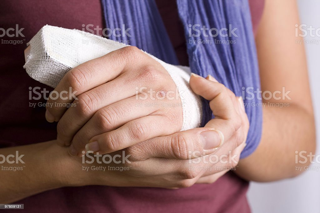 Young Woman With Injured Hand royalty-free stock photo