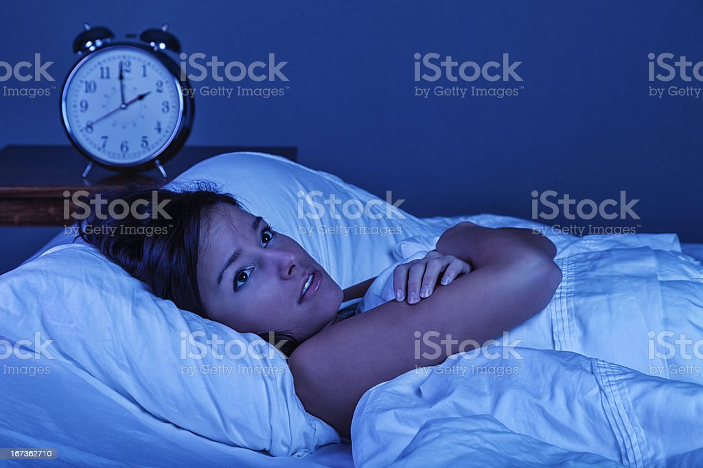 Young Woman with Insomnia stock photo