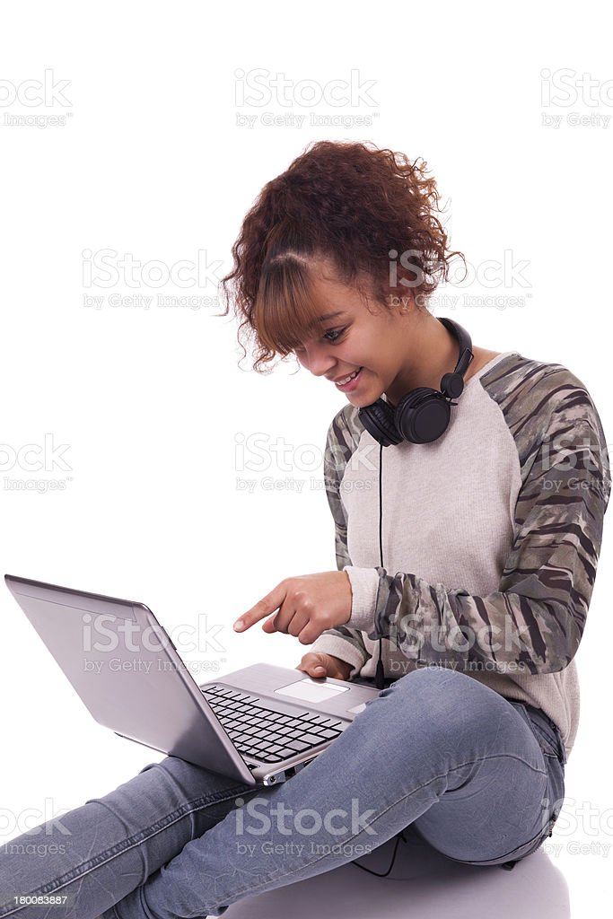 young Woman with laptop in background isolated royalty-free stock photo