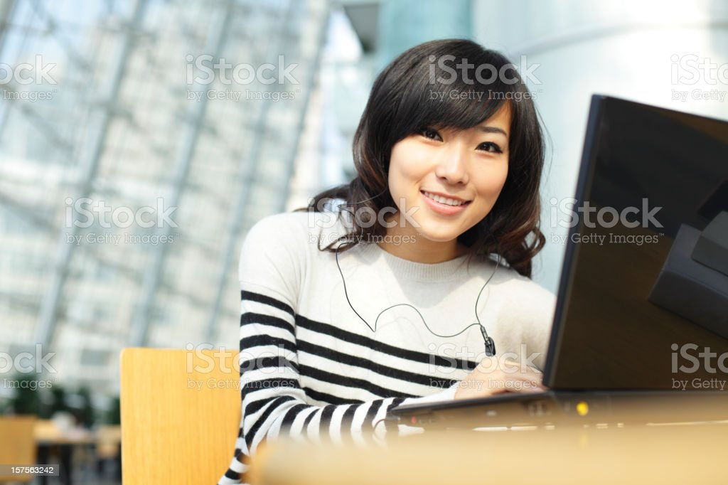 young woman with laptop royalty-free stock photo