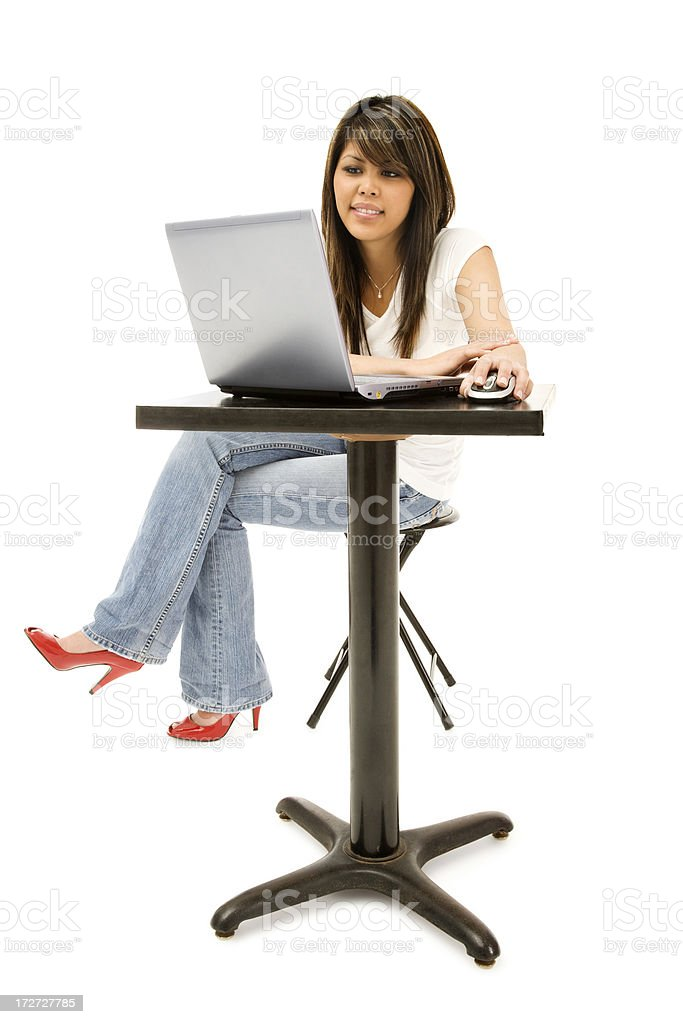 Young Woman with Laptop stock photo