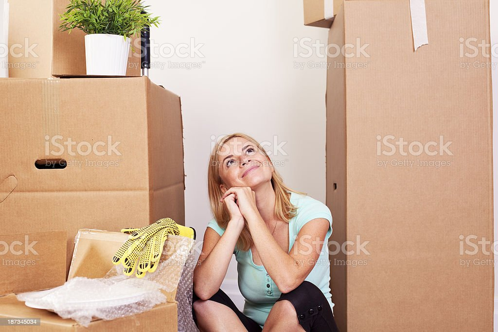 Young woman with large carton boxes royalty-free stock photo