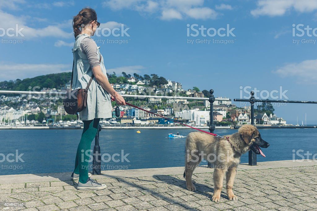 Young woman with Leonberger puppy standing by water stock photo