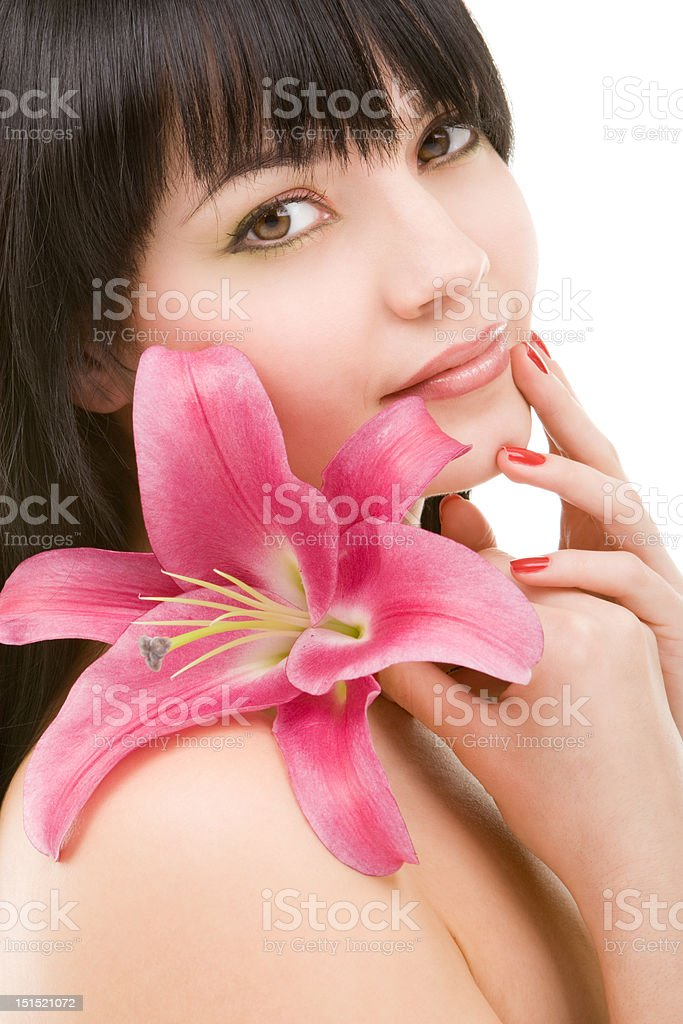 Young woman with lily flower royalty-free stock photo